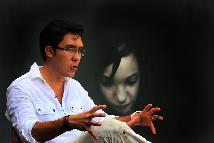 Taller del pintor Jorge Ermilo Espinosa Torre, entrevista con el artista plástico sobre la exposición que montará en Guanajuato Nov 1 de 2013 Foto Celis