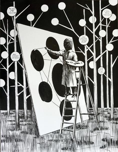 Arborescence,50x70cm, encre de chine sur papier, 2016