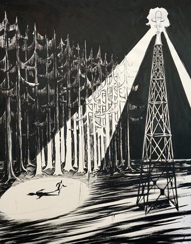 Fugue, 121x152cm, encre de chine sur papier contrecollée sur toile, 2012