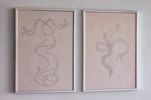 MARC MOLK Histoire d'O : René serpentin, Marc Molk, 2016, calligramme, encre de chine sur papier-China Ink, 29,7 x 21 cm